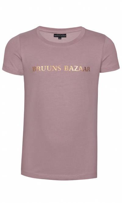 Bilde av Støvet rosa t-skjorte med gullskrift